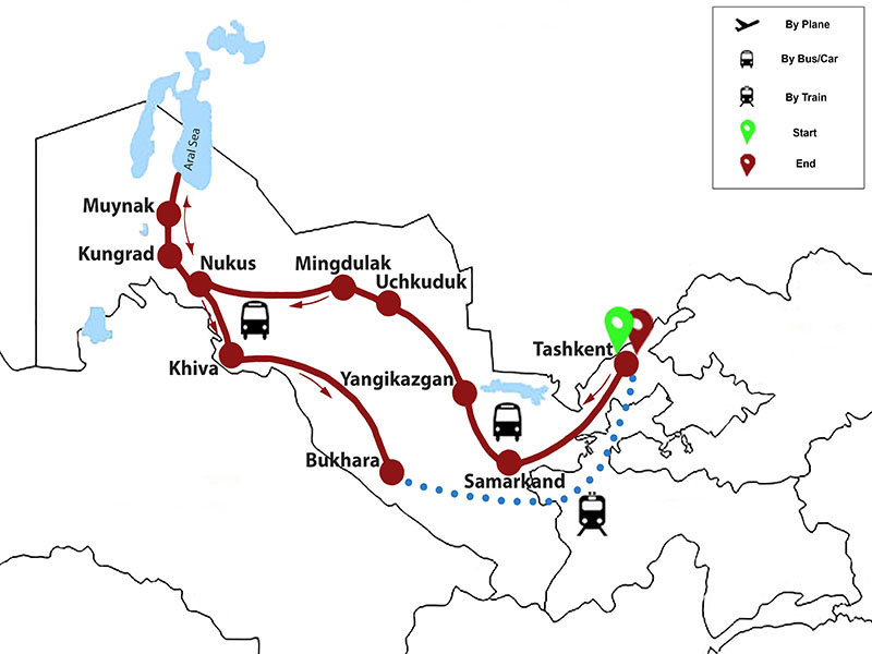 map-Desert Jeep Tour in Uzbekistan