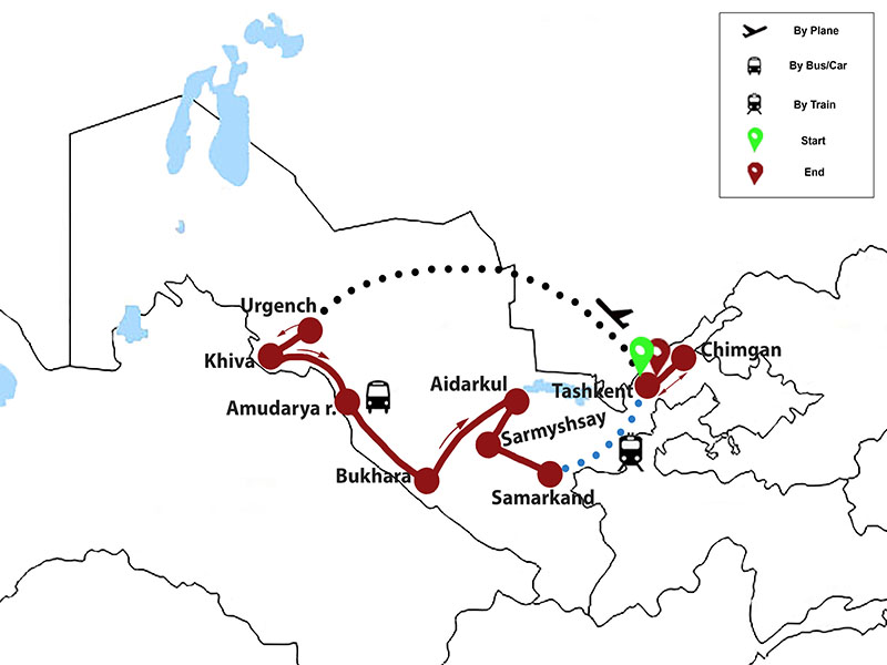 map-Yurts and Deserts of Uzbekistan