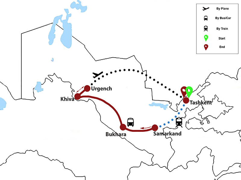 map-Highlights of Uzbekistan