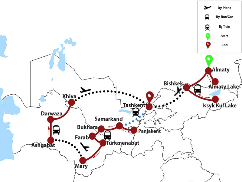 map-Central Asia Wonders in 19 days